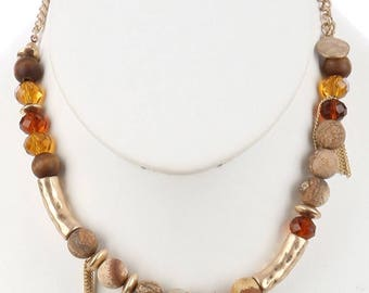 Natural Stone Bead Faith Charm Necklace Brown