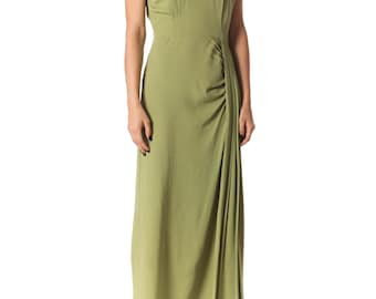 Vintage 1940s Green Crepe Gown by Du Barry Size: XS/S