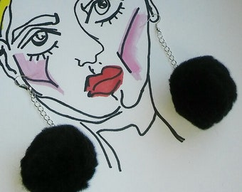 Silver Plated Black Pom Pom Earrings