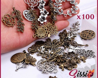MAXI set 100 Silver bronze charms mixed retro tree leaf pendant NATURE for making jewelry shabby chic vintage passion