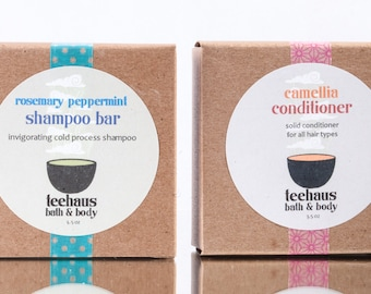Shampoo & Conditioner Set: Natural Hair Care. Save 20%. Solid Shampoo and Conditioner Bars for All Hair Types. Chemical-Free Hair Care.