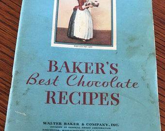 Vintage Baker's Best Chocolate Recipes 1932 Cookbook Pamphlet Chocolatiers Lot Recipes Baking Cooking Recipes