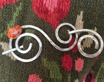Shawl Pin Aluminum Whimsical Dizzy Spirals with Genuine Fire Agate