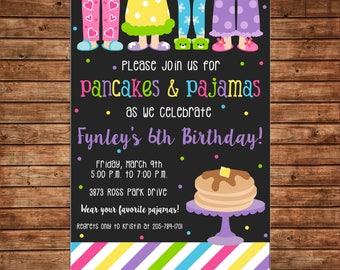 Girl Invitation Colorful Pajamas and Pancakes Birthday Party - Can personalize colors /wording - Printable File or Printed Cards