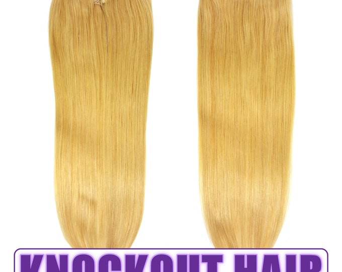 """Fits like a Halo Hair Extensions 20"""" Honey Blonde (#22) - Human No Clip In Flip In Couture by Knockout Hair"""