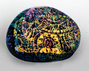 Dichroic Cabochon, Steampunk Cabochon, Jewelry Cab, 28 mm x 29 mm, Mosaic Tile, Dichroic Tile, Handmade Tile, DecorativeGlass Tile