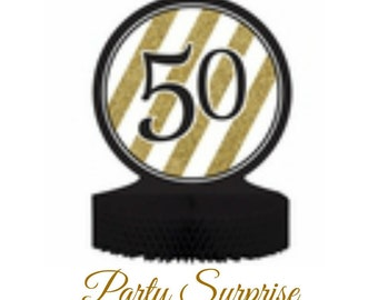 50th Birthday 50th Anniversary Centerpiece Black and Gold Foil 50 Table Centerpiece