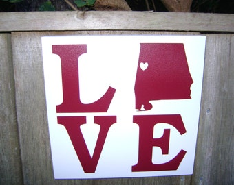 Love Alabama State Sign, Love Tuscaloosa, State Shaped Wood Sign