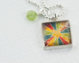 Rainbow Star Burst | Colorful Star Necklace | Vintage Distressed Star Pendant | Sterling Square Necklace