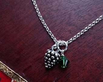 Tiny Pinecone and Green Crystal Charm Necklace