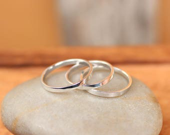Sterling silver stacking rings - thin silver ring- pinky ring - knuckle ring - tiny silver band - silver finger ring