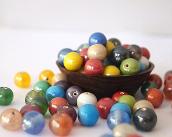20 Glass Round Beads Mixed Colours Pearl Lustre Finish Size 8 - 9mm