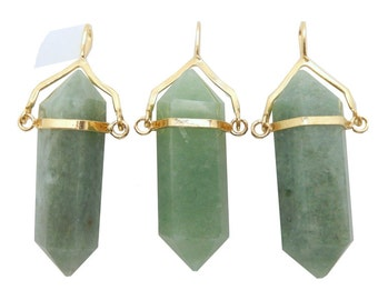 Aventurine double terminated Point Pendant with Gold Plated Cap and Bail (S52B23b-05)