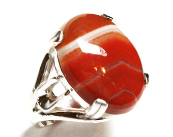 "Agate ring, striped agate ring, agate cabochon ring, solitaire ring, anniversary, orange white brown,  s 6 1/4  ""Sienna"""