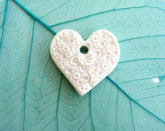 Ceramic heart pendant ~ aromatherapy necklace pendant, essential oil charm, clay pendant, handmade jewellery components, pendant for perfume