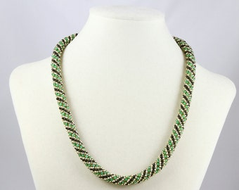 Russian Spiral Beaded  Necklace in Emerald Green, Black and Gold