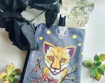 Cyclic Grace Zippered Pouch - Coin Purse Wallet - Moon Cycle Witch anime artwork - Bianca Loran Art
