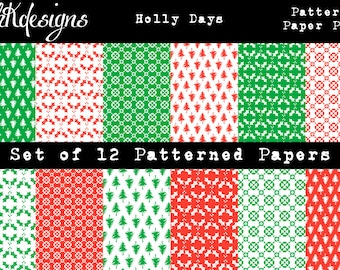 Holly Days Patterned Paper Pack