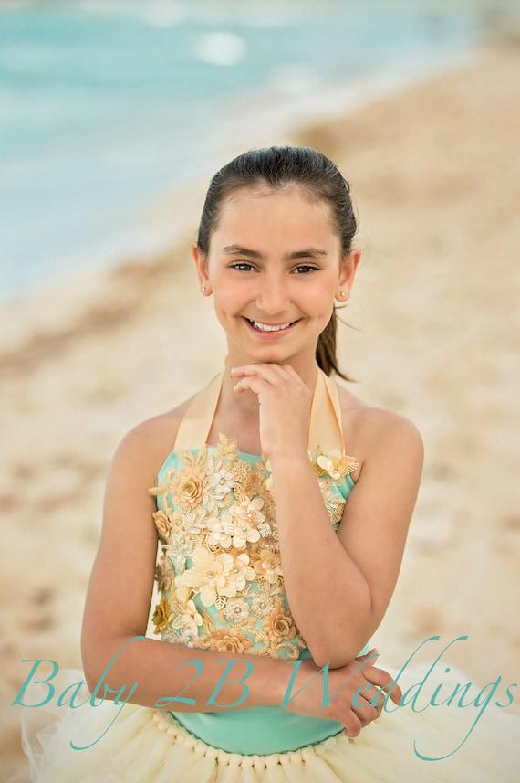 Aqua and Gold Dress Beach Flower Girl Dress Wedding Dress  Ivory Dress Gold Dress Birthday Dress Toddler Aqua Dress Girl Dress Beach Wedding