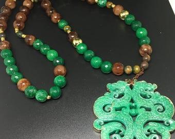 Aventurine beaded long necklace