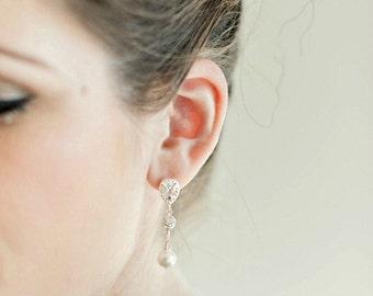 Bridal Earrings, Pearl Bridal Earrings, Art Deco Bridal Earrings, Bridal Jewelry