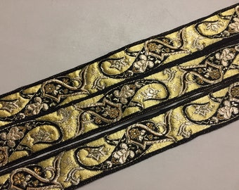 Vintage French Brocade Ribbon with vivid Paisley Pattern, Black, Yellow and Gold, Metallic Gold Finish, 1 inches wide, Price is per Yard