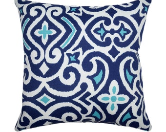 Robert Allen Damask Marine Outdoor Decorative Throw Pillow in Navy, White and Turquoise - Free Shipping
