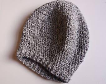 Grey Cotton Slouchy Crochet Hat