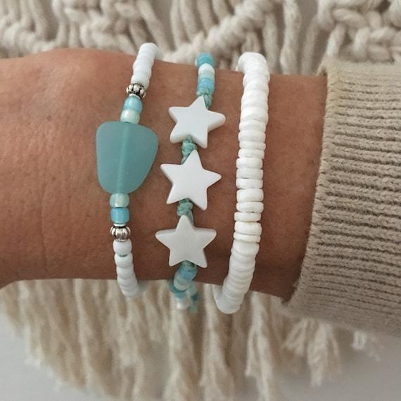 beach bracelets, sea glass jewelry, boho style, gift for her