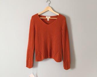 pumpkin cotton pullover | eyelet trees ribbed sweater | v neck pumpkin pullover