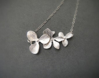 Triple Orchid Necklace in STERLING SILVER CHAIN--Flower Necklace--Perfect Gift, gift for mom,gift for friends,Birthday Present for her.