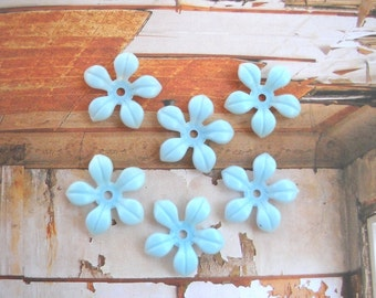 Light blue Soft Plastic Flower bead Vintage flower bead Flat Bottom, 6