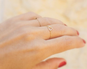 Tiny Triangle ring  -  14k gold filled chain with tiny gold triangle, mini geometric ring, gold filled ring, triangle Jewelry