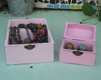 "Pink ""Shabby Chic"" Wooden Jewelry Box + Small One As A Gift"