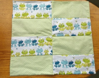 Frogs and Dragonflies with Minky Toddler Quilt with Blanket Binding, Security Blanket - Lovey - Carseat, Stroller, Travel Soother