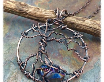 Blue Titanium Quartz Crystal Gemstone Tree of Life Copper Wire Wrapped Necklace