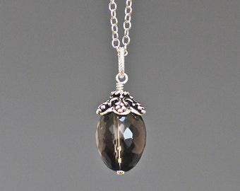 Smokey Quartz Necklace - Smokey Quartz Jewelry - Bali Silver Pendant - Brown Gemstone - Wire Wrapped Pendant Silver - Single Stone Pendant