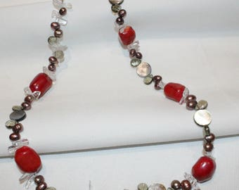 Coral, Fresh Water Pearl, Clear Quartz, Mother of Pearl Beaded Necklace