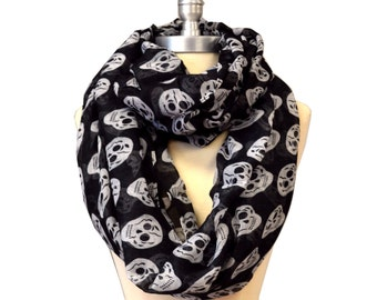 Black With White Skull X-Large Infinity Scarf Loop Cowl