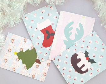 Set von vier Weihnachten/Urlaub/festliche Karten Filz Applikation
