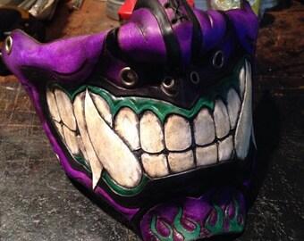 Purple Leather Oni kabuki half mask