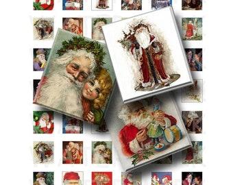 50% Off Sale - Vintage Santa Claus - Digital Collage Sheet   - .75 x .83 Scrabble Size - INSTANT DOWNLOAD
