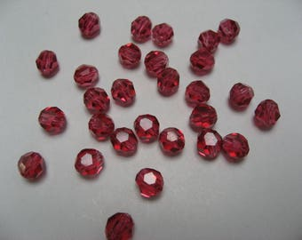 Crystal pierced pearls with facets, old pink, 5 mm (x 120)
