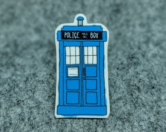 Doctor Who Tardis! Plastic Pin Brooch - Illustrated Shrink Plastic Pin