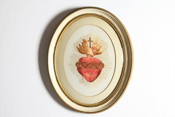 Antique Silk Work - Sacred Heart - Roman Catholic - Crown of Thorns - Cross - Late 19th Century - Silk Embroidery - Under Domed Glass
