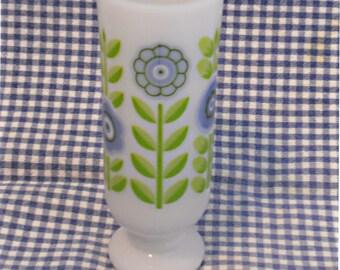 Vintage Avon Milk Glass Demitasse Cup, floral coffee cup, white cup, stemmed cup, coffee mug,  Irish coffee, mod, footed