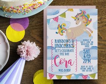 unicorn invitations, unicorn birthday invitations, unicorn rainbow invitation, printable unicorn birthday invitations, unicorn party