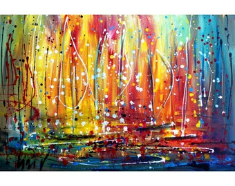 SUNLIGHT Original Painting Inspired by Pollock Boats Sunset on the Lake Art by Luiza Vizoli