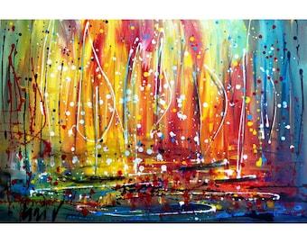 SUNLIGHT Original Painting Inspired by Pollock Boats Sunset on the Lake Art by Luiza Vizoli