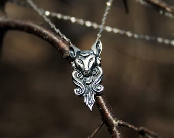 Sterling silver mythical fox with moon quarter necklace  - Handmade medieval pendant